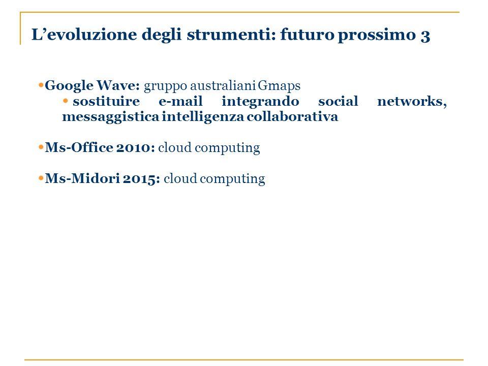 Levoluzione degli strumenti: futuro prossimo 3 Google Wave: gruppo australiani Gmaps sostituire e-mail integrando social networks, messaggistica intelligenza collaborativa Ms-Office 2010: cloud computing Ms-Midori 2015: cloud computing