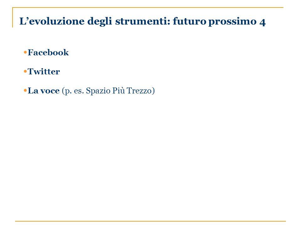 Levoluzione degli strumenti: futuro prossimo 4 Facebook Twitter La voce (p. es. Spazio Più Trezzo)