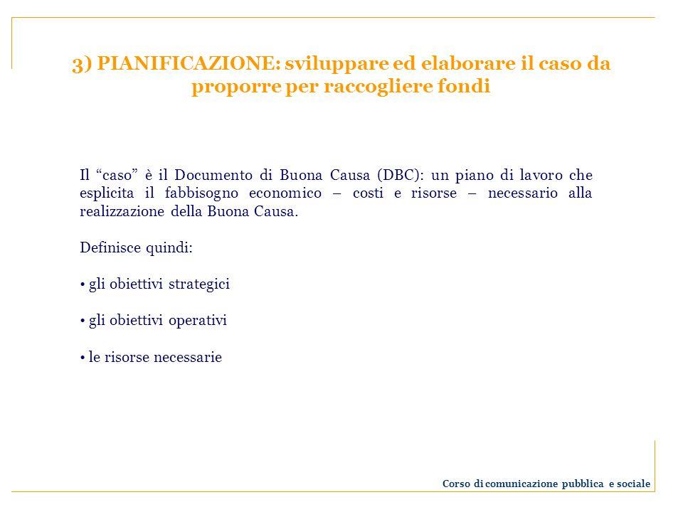 3) PIANIFICAZIONE: sviluppare ed elaborare il caso da proporre per raccogliere fondi Il caso è il Documento di Buona Causa (DBC): un piano di lavoro c