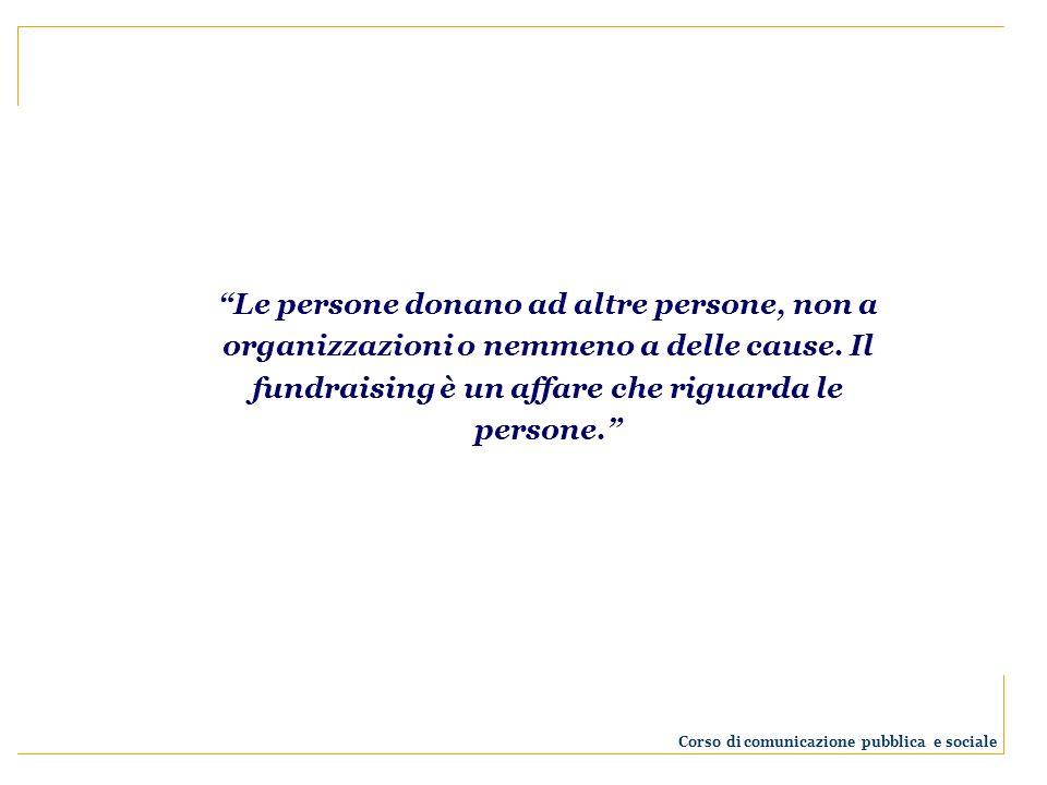 Le persone donano ad altre persone, non a organizzazioni o nemmeno a delle cause. Il fundraising è un affare che riguarda le persone. Corso di comunic