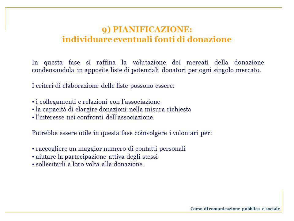 9) PIANIFICAZIONE: individuare eventuali fonti di donazione In questa fase si raffina la valutazione dei mercati della donazione condensandola in appo