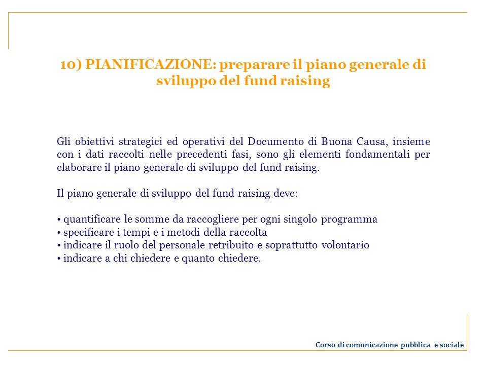 10) PIANIFICAZIONE: preparare il piano generale di sviluppo del fund raising Gli obiettivi strategici ed operativi del Documento di Buona Causa, insie