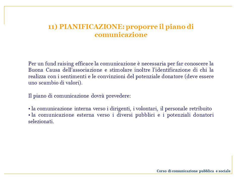 11) PIANIFICAZIONE: proporre il piano di comunicazione Per un fund raising efficace la comunicazione è necessaria per far conoscere la Buona Causa del