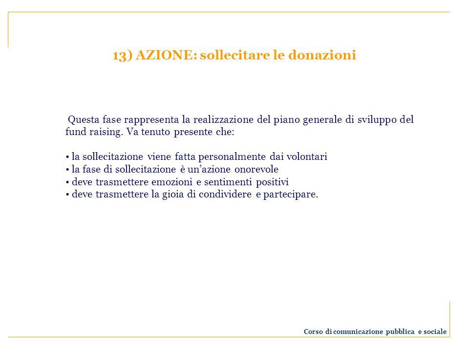13) AZIONE: sollecitare le donazioni Questa fase rappresenta la realizzazione del piano generale di sviluppo del fund raising. Va tenuto presente che: