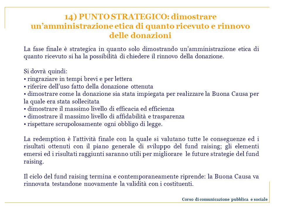 14) PUNTO STRATEGICO: dimostrare unamministrazione etica di quanto ricevuto e rinnovo delle donazioni La fase finale è strategica in quanto solo dimos