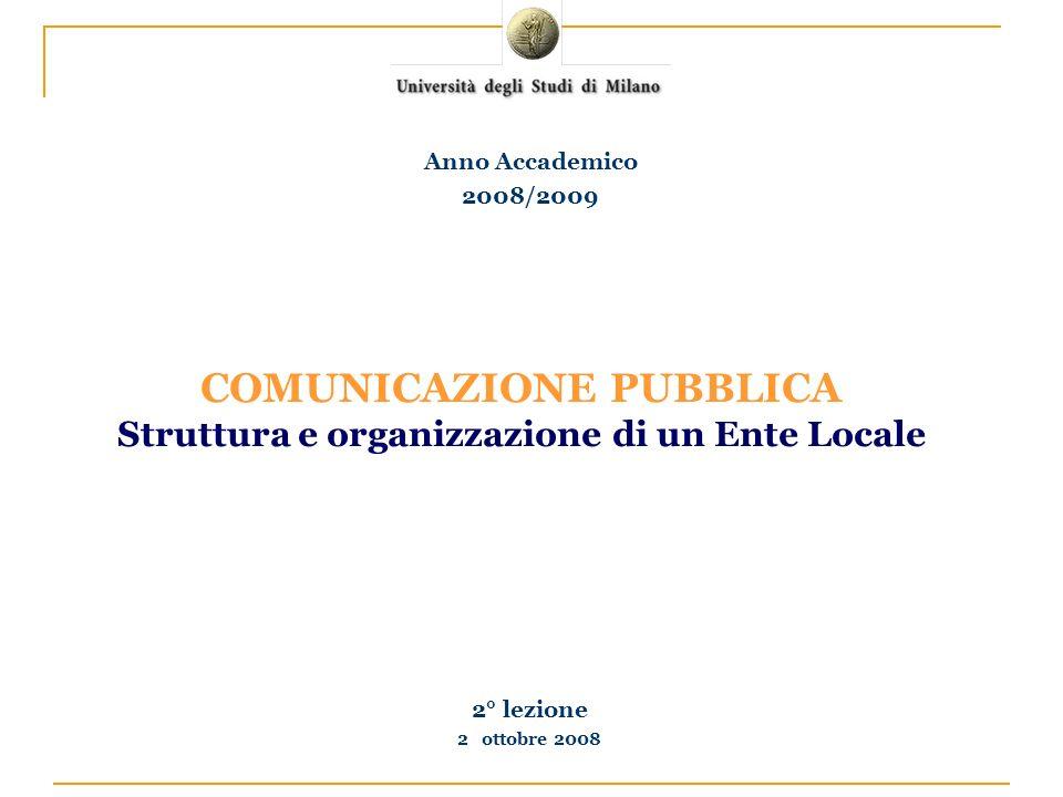2° lezione 2 ottobre 2008 Anno Accademico 2008/2009 COMUNICAZIONE PUBBLICA Struttura e organizzazione di un Ente Locale
