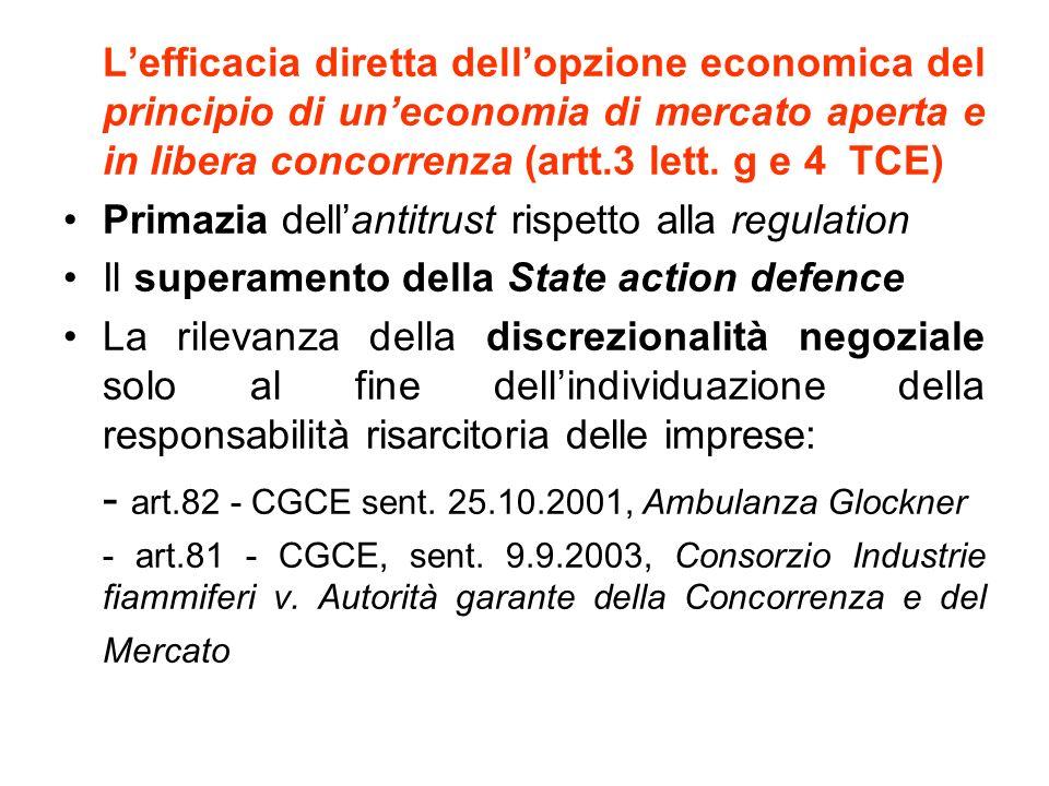 Lefficacia diretta dellopzione economica del principio di uneconomia di mercato aperta e in libera concorrenza (artt.3 lett.
