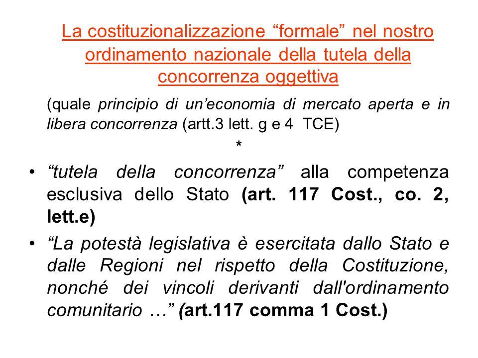 La costituzionalizzazione formale nel nostro ordinamento nazionale della tutela della concorrenza oggettiva (quale principio di uneconomia di mercato aperta e in libera concorrenza (artt.3 lett.