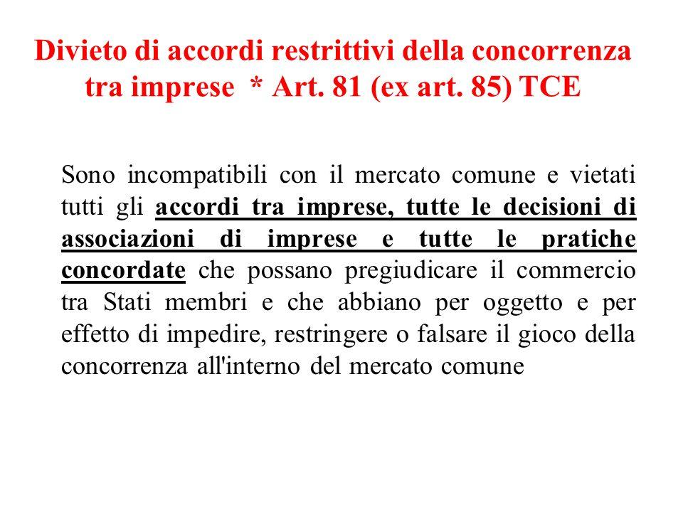 Divieto di accordi restrittivi della concorrenza tra imprese * Art.