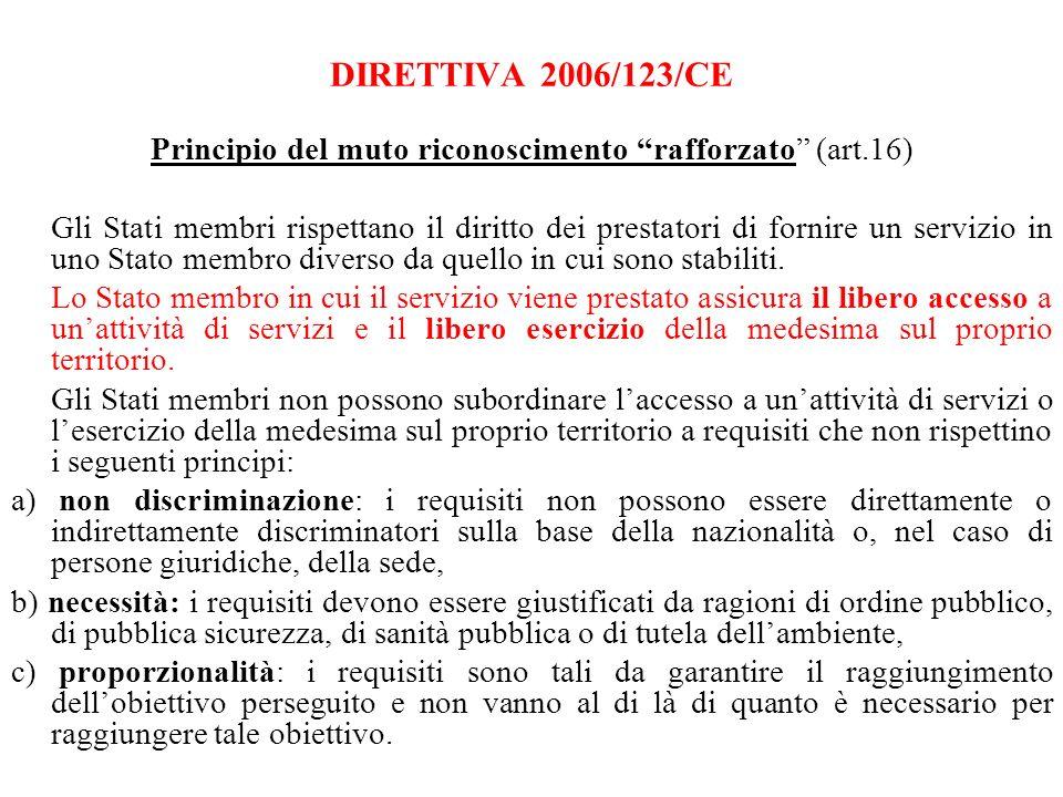 DIRETTIVA 2006/123/CE Principio del muto riconoscimento rafforzato (art.16) Gli Stati membri rispettano il diritto dei prestatori di fornire un servizio in uno Stato membro diverso da quello in cui sono stabiliti.