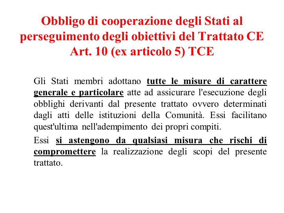 Obbligo di cooperazione degli Stati al perseguimento degli obiettivi del Trattato CE Art.