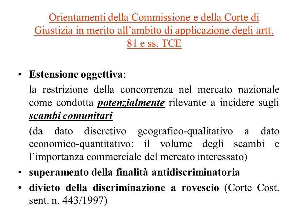 Orientamenti della Commissione e della Corte di Giustizia in merito allambito di applicazione degli artt.