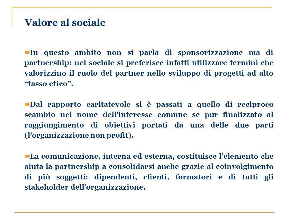 In questo ambito non si parla di sponsorizzazione ma di partnership: nel sociale si preferisce infatti utilizzare termini che valorizzino il ruolo del partner nello sviluppo di progetti ad alto tasso etico.