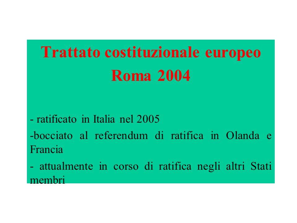 Da fare Trattato costituzionale europeo Roma 2004 - ratificato in Italia nel 2005 -bocciato al referendum di ratifica in Olanda e Francia - attualment