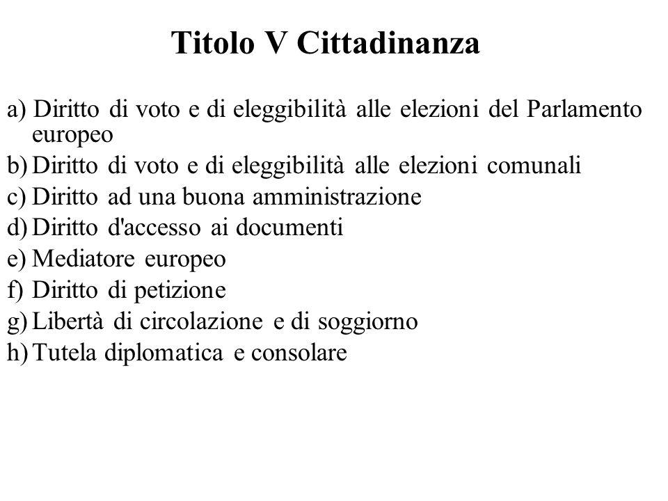 Titolo V Cittadinanza a) Diritto di voto e di eleggibilità alle elezioni del Parlamento europeo b)Diritto di voto e di eleggibilità alle elezioni comu