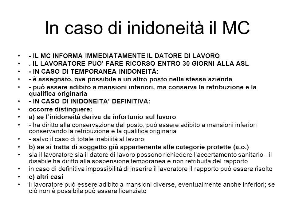 In caso di inidoneità il MC - IL MC INFORMA IMMEDIATAMENTE IL DATORE DI LAVORO.