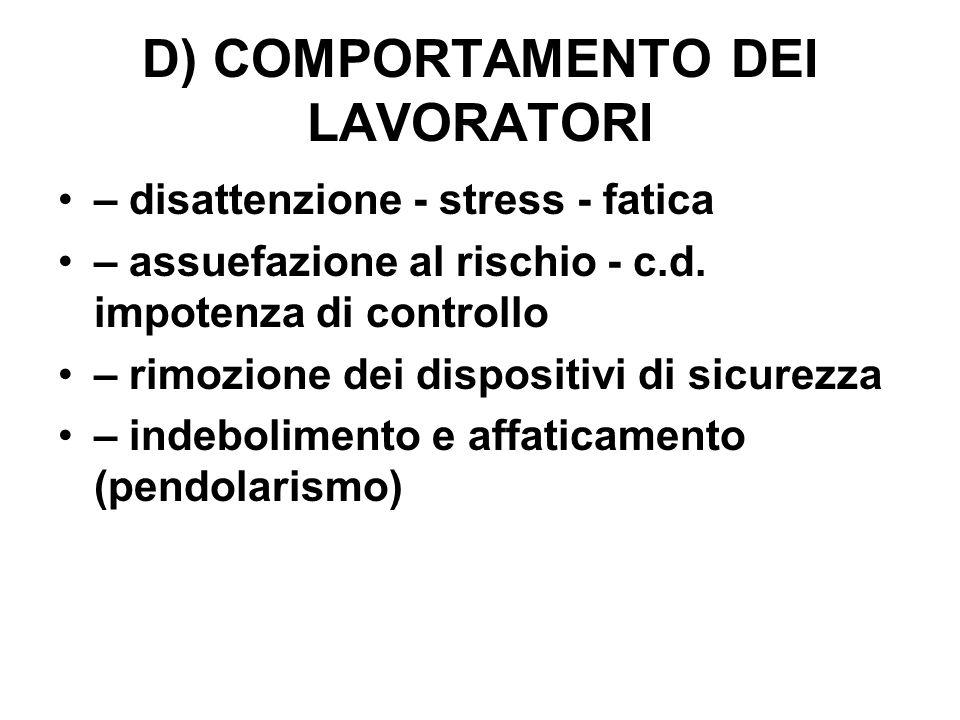 D) COMPORTAMENTO DEI LAVORATORI – disattenzione - stress - fatica – assuefazione al rischio - c.d.