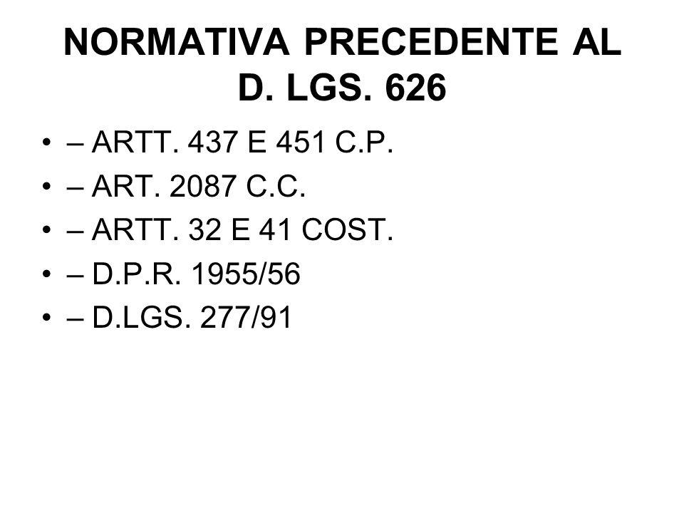 NORMATIVA PRECEDENTE AL D.LGS. 626 – ARTT. 437 E 451 C.P.