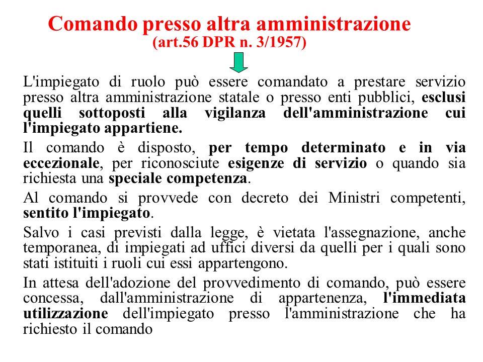 Comando presso altra amministrazione (art.56 DPR n. 3/1957) L'impiegato di ruolo può essere comandato a prestare servizio presso altra amministrazione