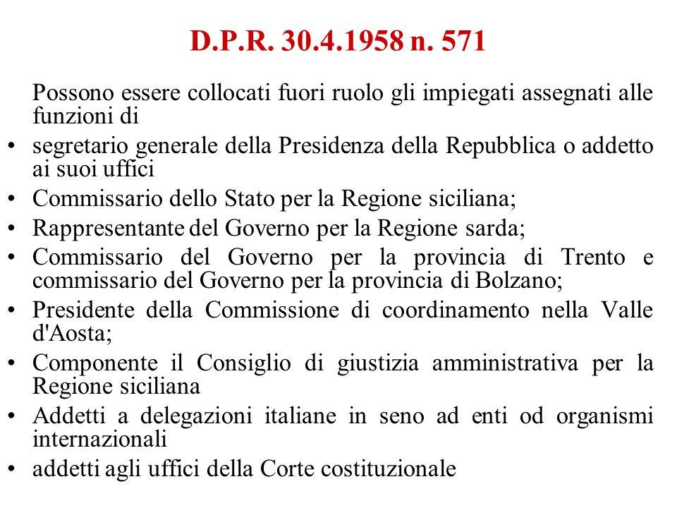 D.P.R. 30.4.1958 n. 571 Possono essere collocati fuori ruolo gli impiegati assegnati alle funzioni di segretario generale della Presidenza della Repub