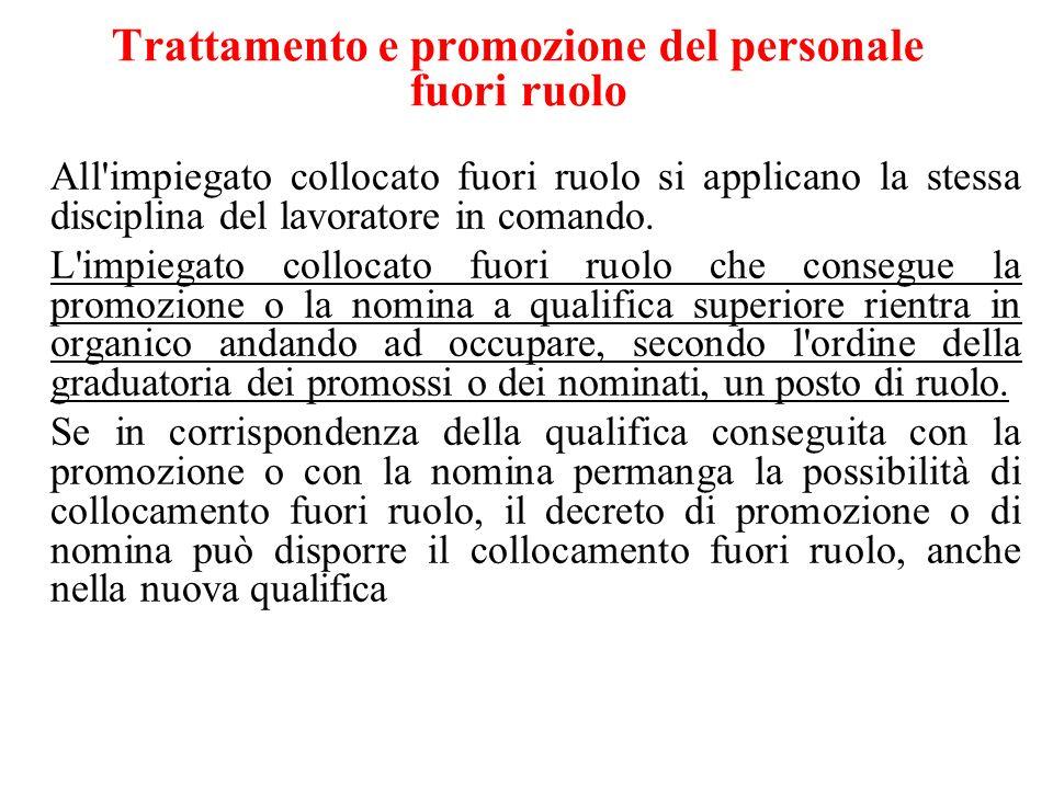 Trattamento e promozione del personale fuori ruolo All'impiegato collocato fuori ruolo si applicano la stessa disciplina del lavoratore in comando. L'