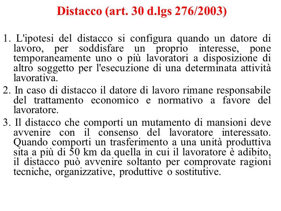 Distacco (art. 30 d.lgs 276/2003) 1. L'ipotesi del distacco si configura quando un datore di lavoro, per soddisfare un proprio interesse, pone tempora