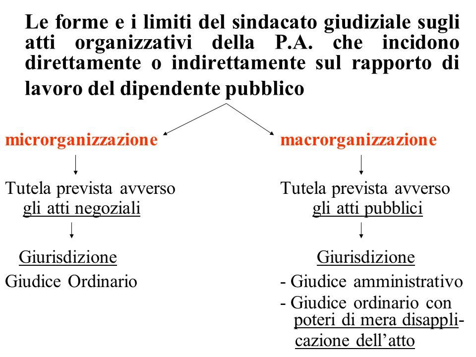 Le forme e i limiti del sindacato giudiziale sugli atti organizzativi della P.A.