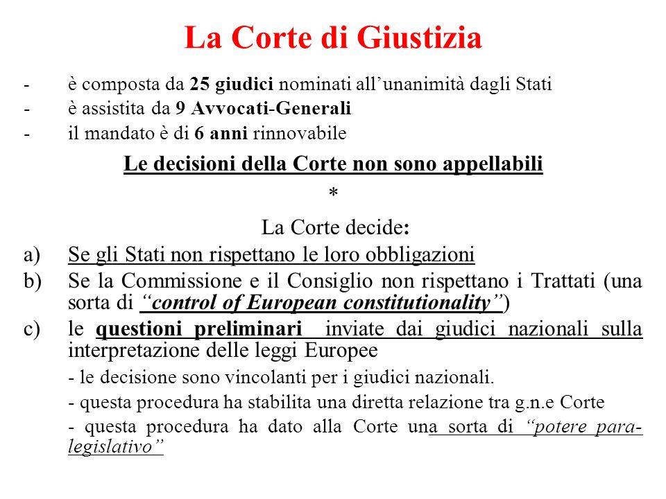 La Corte di Giustizia - è composta da 25 giudici nominati allunanimità dagli Stati -è assistita da 9 Avvocati-Generali -il mandato è di 6 anni rinnovabile Le decisioni della Corte non sono appellabili * La Corte decide: a)Se gli Stati non rispettano le loro obbligazioni b)Se la Commissione e il Consiglio non rispettano i Trattati (una sorta di control of European constitutionality) c)le questioni preliminari inviate dai giudici nazionali sulla interpretazione delle leggi Europee - le decisione sono vincolanti per i giudici nazionali.