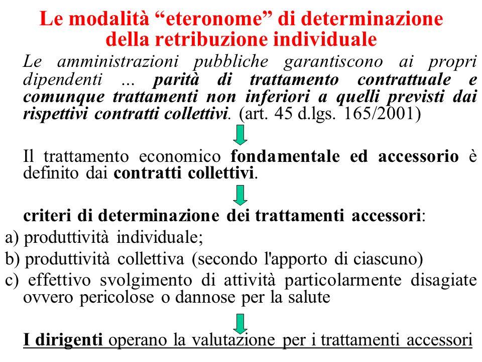 Le modalità eteronome di determinazione della retribuzione individuale Le amministrazioni pubbliche garantiscono ai propri dipendenti … parità di trattamento contrattuale e comunque trattamenti non inferiori a quelli previsti dai rispettivi contratti collettivi.