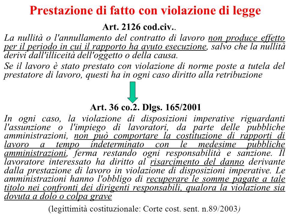 Prestazione di fatto con violazione di legge Art.2126 cod.civ..