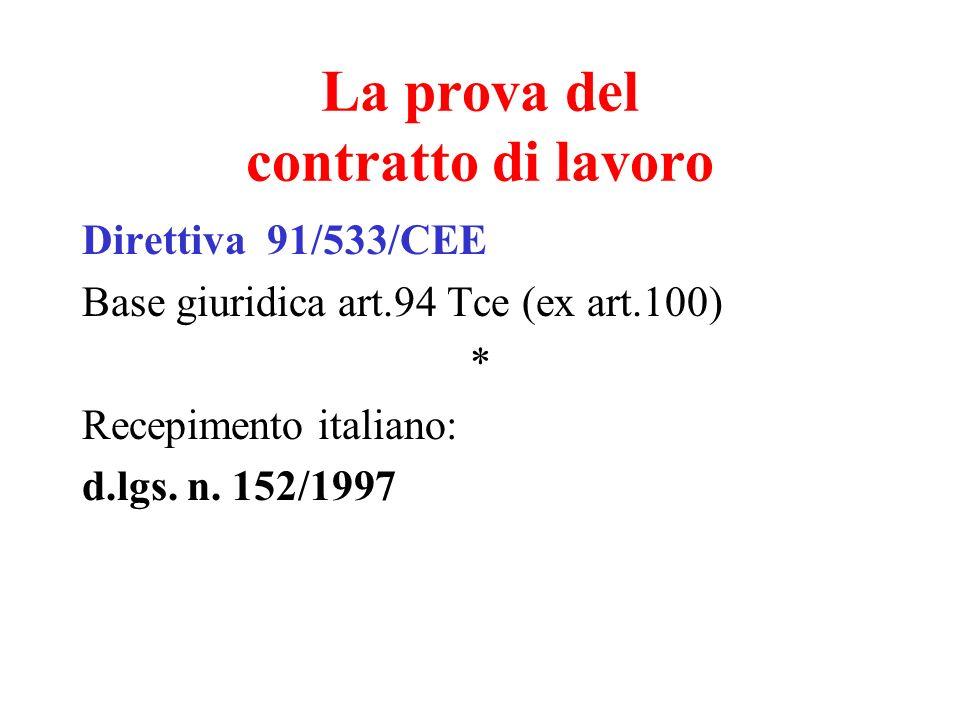 La prova del contratto di lavoro Direttiva 91/533/CEE Base giuridica art.94 Tce (ex art.100) * Recepimento italiano: d.lgs. n. 152/1997