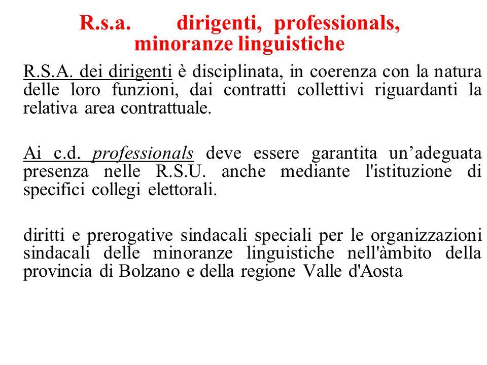 R.s.a. dirigenti,professionals, minoranze linguistiche R.S.A.