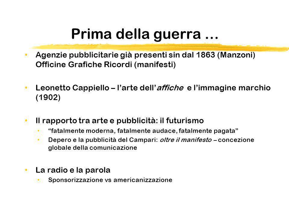 Prima della guerra … Agenzie pubblicitarie già presenti sin dal 1863 (Manzoni) Officine Grafiche Ricordi (manifesti) Leonetto Cappiello – larte dellaf
