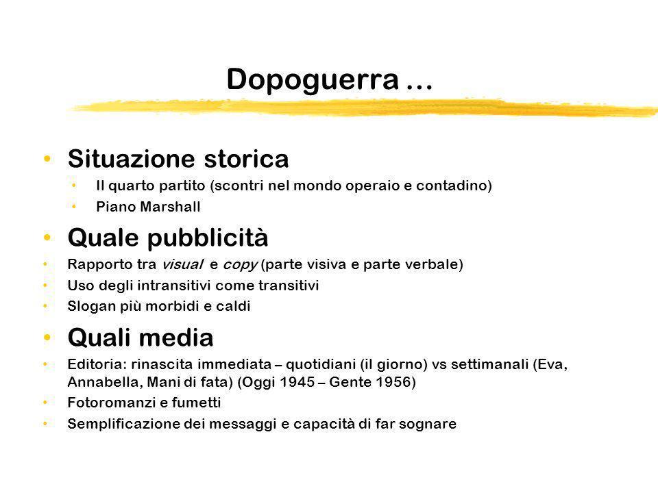 Dopoguerra … Situazione storica Il quarto partito (scontri nel mondo operaio e contadino) Piano Marshall Quale pubblicità Rapporto tra visual e copy (