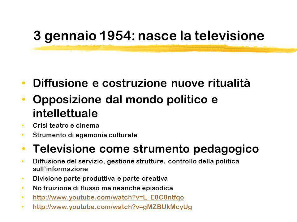 3 gennaio 1954: nasce la televisione Diffusione e costruzione nuove ritualità Opposizione dal mondo politico e intellettuale Crisi teatro e cinema Str