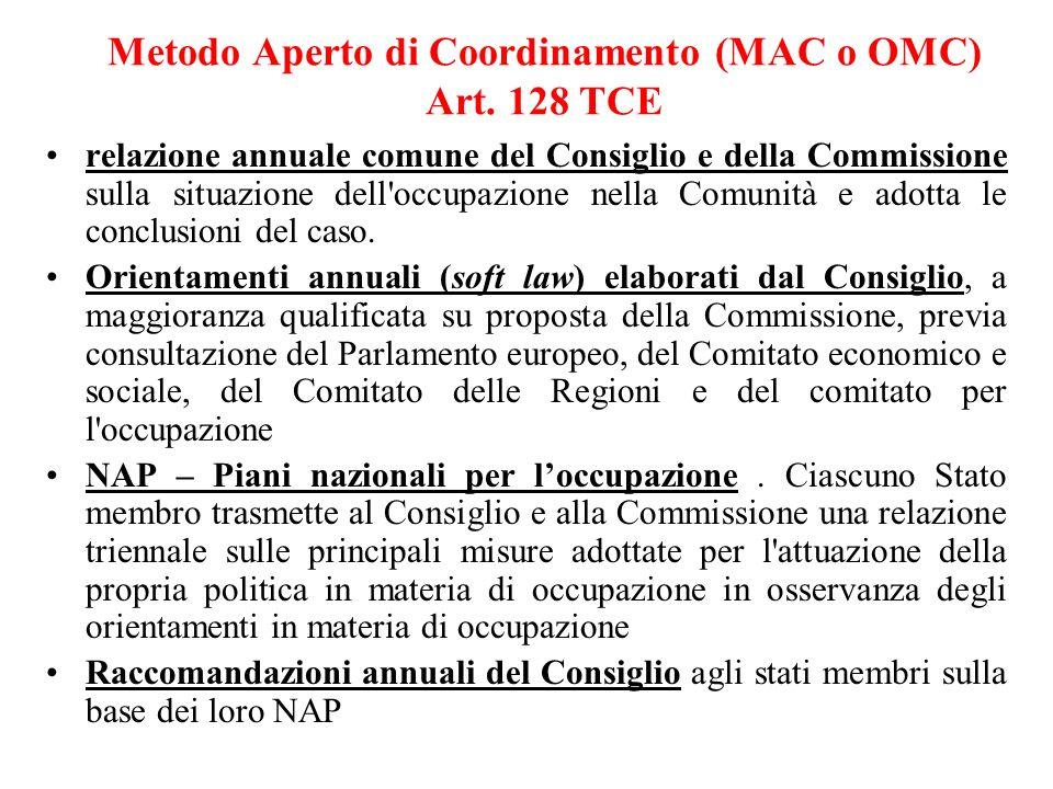 Metodo Aperto di Coordinamento (MAC o OMC) Art. 128 TCE relazione annuale comune del Consiglio e della Commissione sulla situazione dell'occupazione n