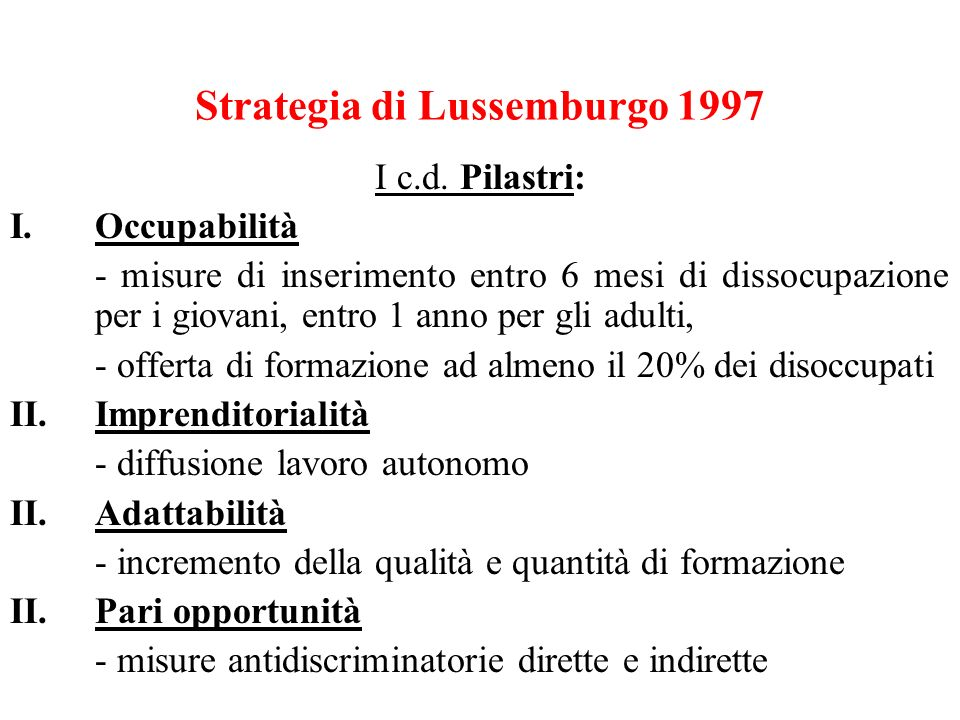 Strategia di Lussemburgo 1997 I c.d.