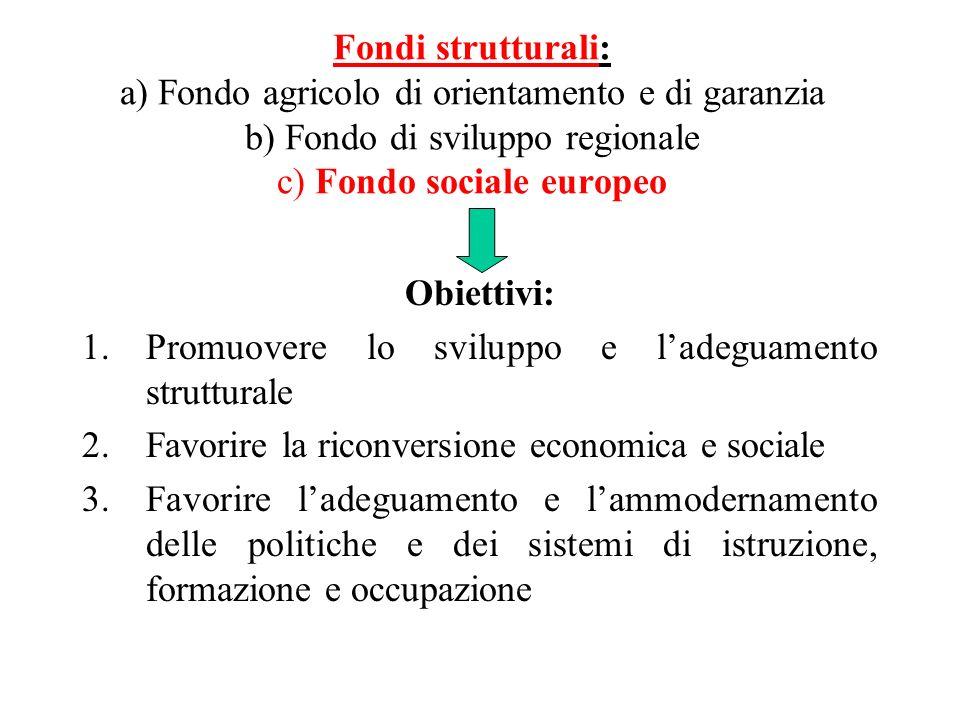 Fondi strutturali: a) Fondo agricolo di orientamento e di garanzia b) Fondo di sviluppo regionale c) Fondo sociale europeo Obiettivi: 1.Promuovere lo