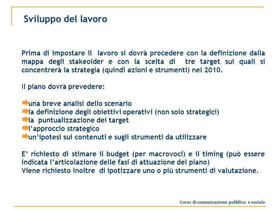 Sviluppo del lavoro Prima di impostare il lavoro si dovrà procedere con la definizione dalla mappa degli stakeolder e con la scelta di tre target sui quali si concentrerà la strategia (quindi azioni e strumenti) nel 2010.