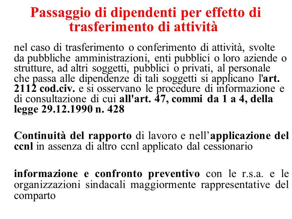 Passaggio di dipendenti per effetto di trasferimento di attività nel caso di trasferimento o conferimento di attività, svolte da pubbliche amministraz