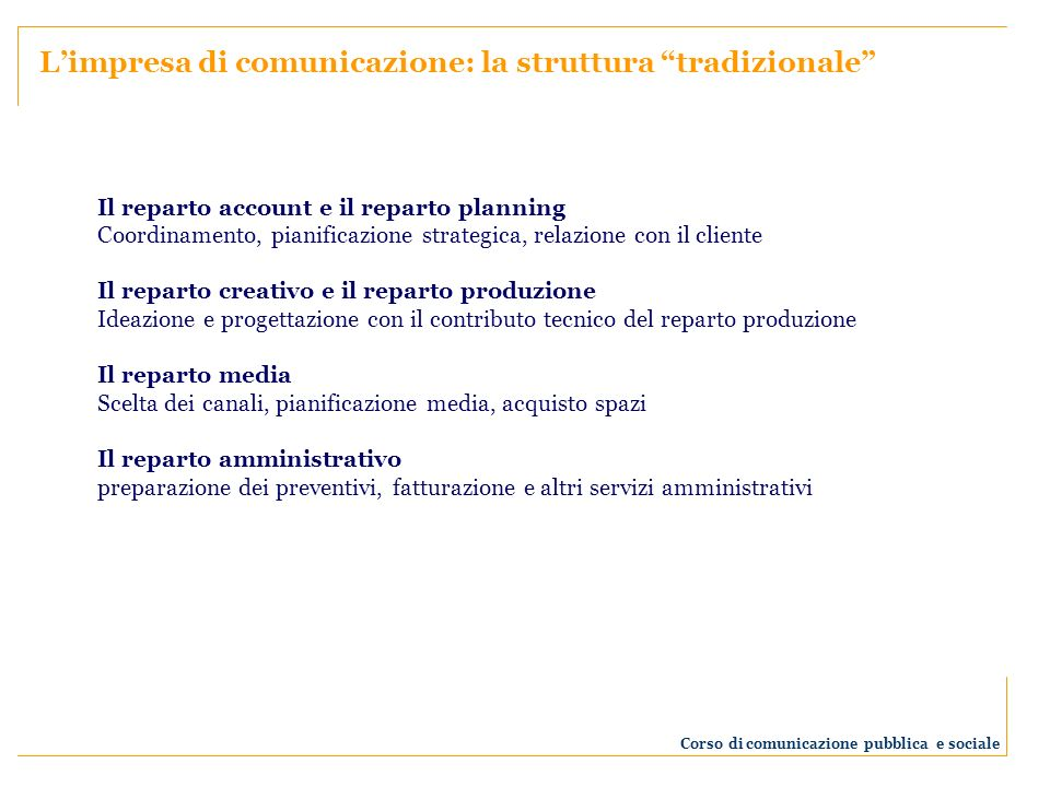 Corso di comunicazione pubblica e sociale Account Strategic planner Copywriter Grafico Art director Responsabile del traffico Radio e tv producer Art buyer Media planner Media buyer Media research ………..
