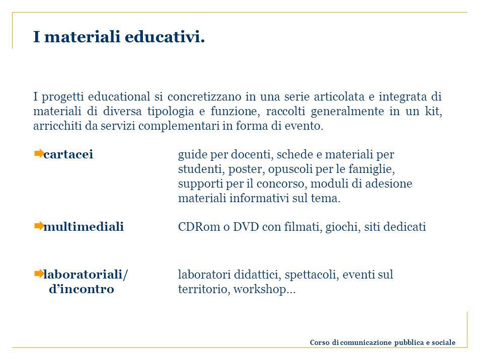 Corso di comunicazione pubblica e sociale I materiali educativi.