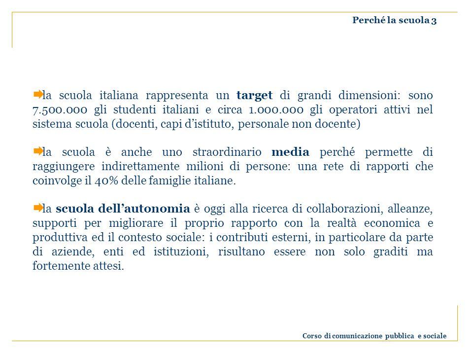 Perché la scuola 3 la scuola italiana rappresenta un target di grandi dimensioni: sono 7.500.000 gli studenti italiani e circa 1.000.000 gli operatori attivi nel sistema scuola (docenti, capi distituto, personale non docente) la scuola è anche uno straordinario media perché permette di raggiungere indirettamente milioni di persone: una rete di rapporti che coinvolge il 40% delle famiglie italiane.