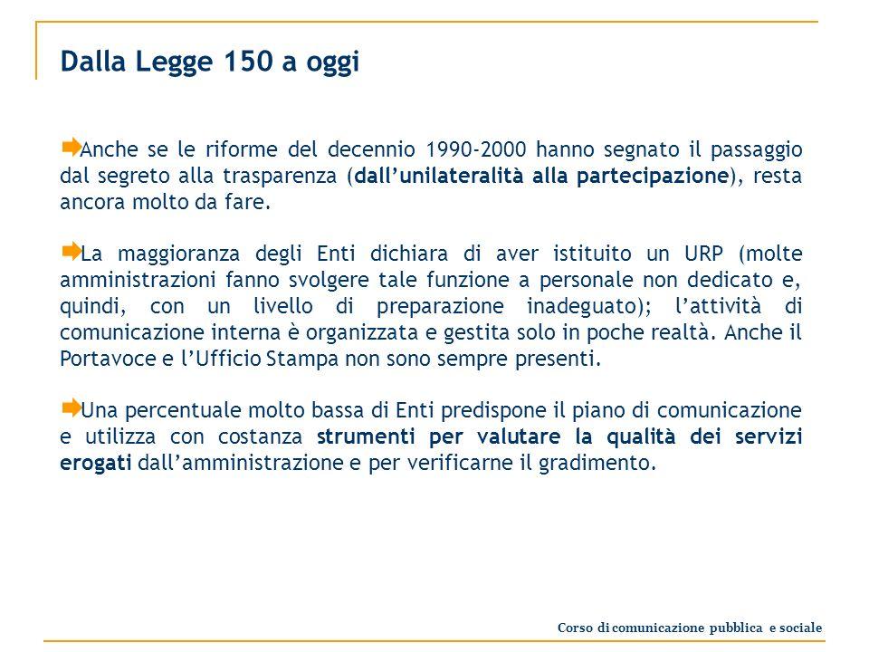 Dalla Legge 150 a oggi Anche se le riforme del decennio 1990-2000 hanno segnato il passaggio dal segreto alla trasparenza (dallunilateralità alla partecipazione), resta ancora molto da fare.
