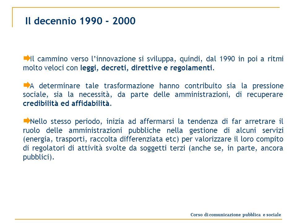 Il decennio 1990 - 2000 Il cammino verso linnovazione si sviluppa, quindi, dal 1990 in poi a ritmi molto veloci con leggi, decreti, direttive e regolamenti.