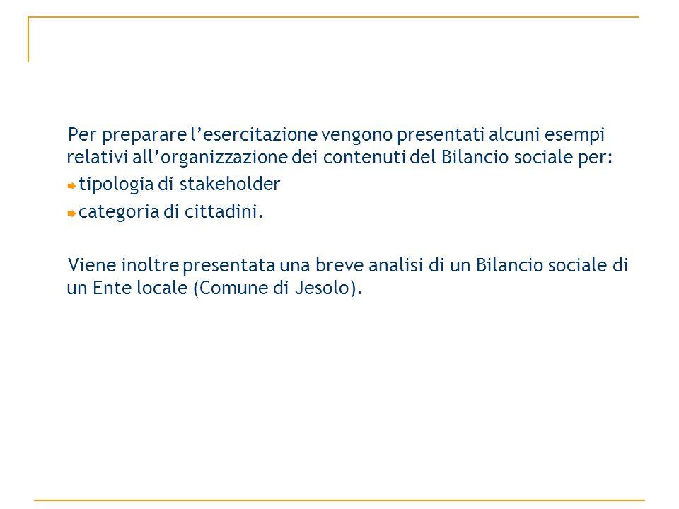 Per preparare lesercitazione vengono presentati alcuni esempi relativi allorganizzazione dei contenuti del Bilancio sociale per: tipologia di stakeholder categoria di cittadini.