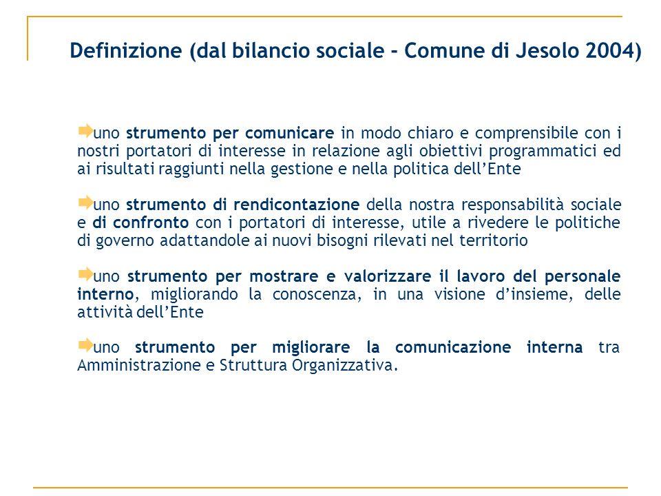 Definizione (dal bilancio sociale - Comune di Jesolo 2004) uno strumento per comunicare in modo chiaro e comprensibile con i nostri portatori di inter