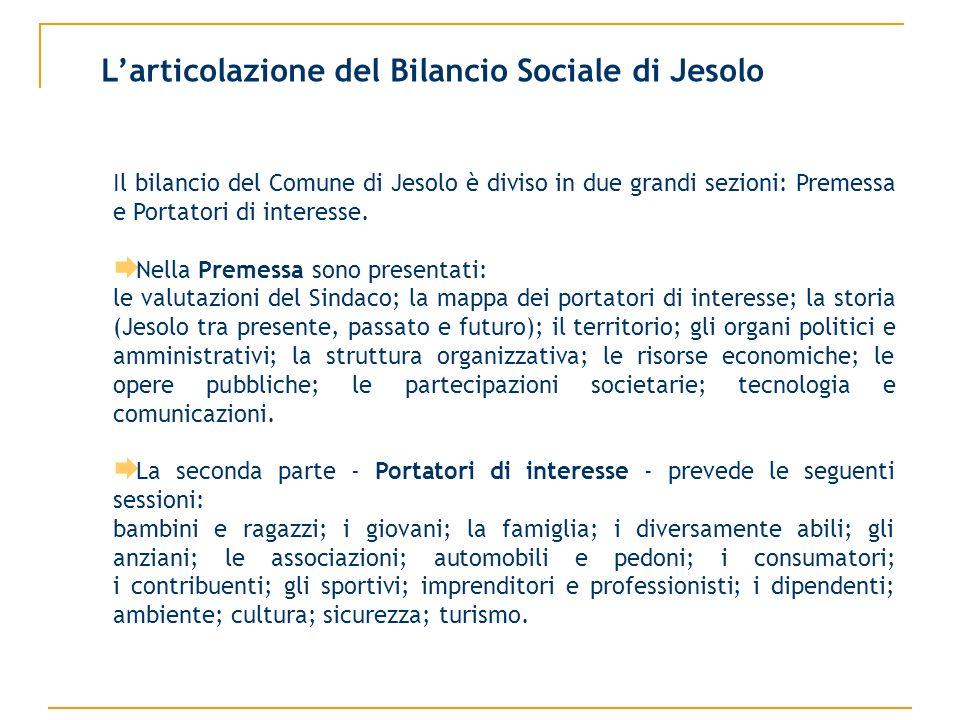 Larticolazione del Bilancio Sociale di Jesolo Il bilancio del Comune di Jesolo è diviso in due grandi sezioni: Premessa e Portatori di interesse. Nell