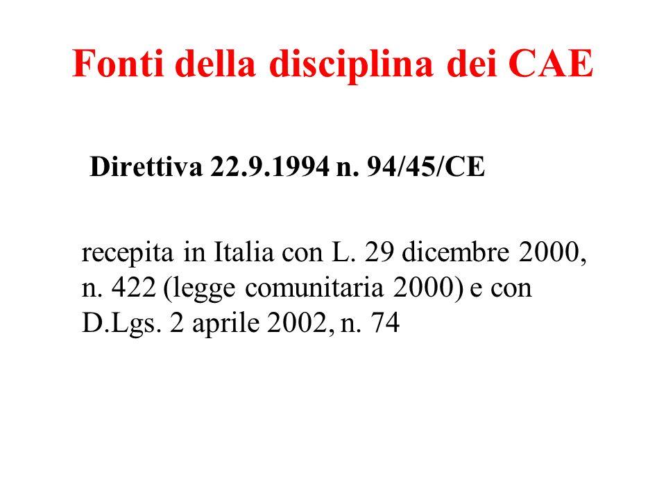 Fonti della disciplina dei CAE Direttiva 22.9.1994 n. 94/45/CE recepita in Italia con L. 29 dicembre 2000, n. 422 (legge comunitaria 2000) e con D.Lgs