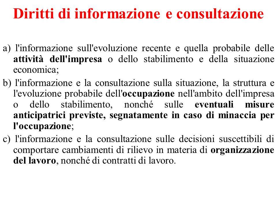 Diritti di informazione e consultazione a) l'informazione sull'evoluzione recente e quella probabile delle attività dell'impresa o dello stabilimento